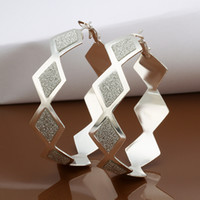 Wholesale 925 Square Hoop Earrings - Fashion party jewelry 925 silver plated hoop earrings square frosted Christmas gift free shipping 10pair lot