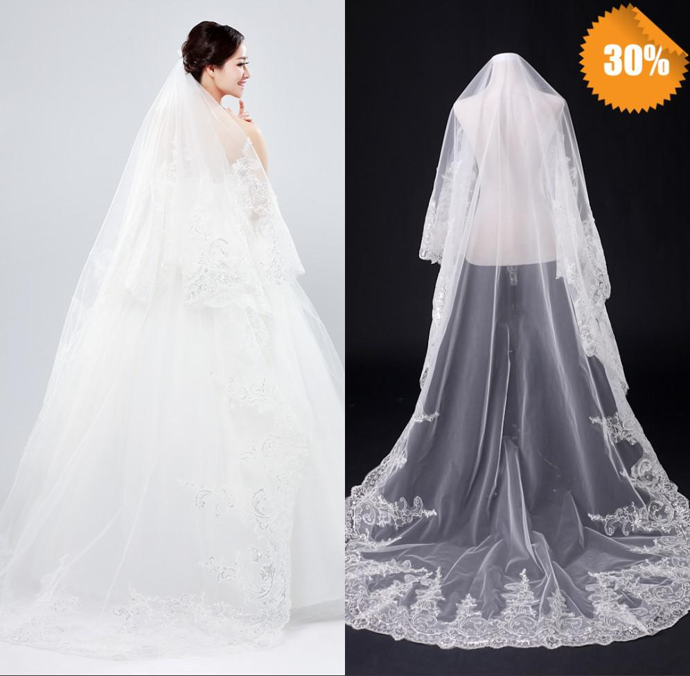 Elegant Newest Latest Design 2t White/Ivory Long Flower Lace Wedding ...