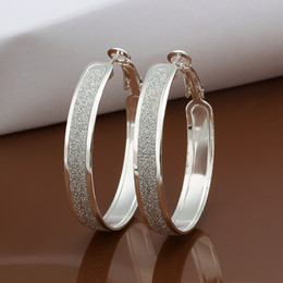 Wholesale Wife Quality - Top quality 925 silver plated hoop earrings frosted classic fashion jewelry party to send his girlfriend   wife gifts free shipping 10pair