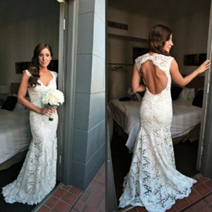 Fairy tale sheath lace v-neck backless floor length glamorous wedding dresses wedding gowns on Sale