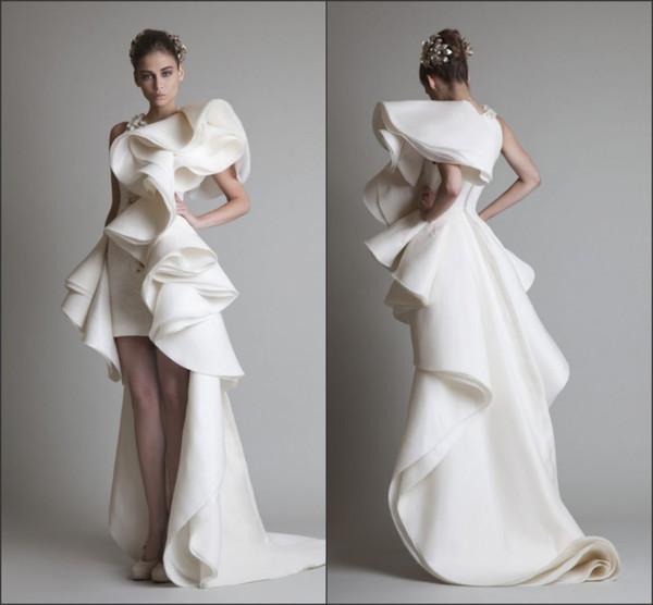 Unique Design 2019 Wedding Dresses With Jewel Appliques Ruffles Sheath Hi-Lo Organza New Customed White Ivory Krikor Jabotian Bridal Gowns