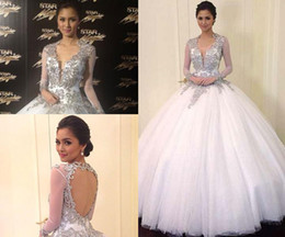 Wholesale Light Ivory Organza Fabric - Kim Chiu at Star Magic Ball 2013 with Deep V Backless Ball Gown Beaded and Sheer Long Sleeves Fabric Celebrity Dresses Dhyz 01