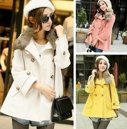 Wholesale Sell Rabbit Fur Coat - Hot sell women's Rabbit fur collar double-breasted wool coat free shipping