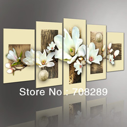 Wholesale Texture Canvas Oil Painting - Thick texture Magnolia 5pcs set Modern Abstract Oil Paintings landscape Pop painting wall art home decor artwork on canvas Flower pictures