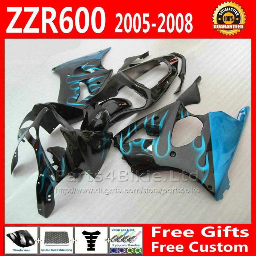 Popular Blue Flame Black Fairings Set For Zzr 600 05 08 Kawasaki Zzr600 High Grade Fairing Body Kit Zx600j 2005 2006 2007 2008 7 Gifts Fg99 Accessories