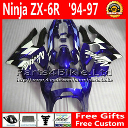 Wholesale Kawasaki Zx6r Fairing 1995 - Racing fairings kit for ZX636 94-97 Kawasaki ninja fairing blue black ZX6R 1994 1995 1996 1997 aftermarket parts ZX 6R 636 + 7 gifts FA16
