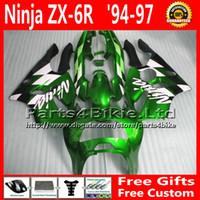kits de carenado postventa zx6r al por mayor-Kit de carenado negro verde para ZX636 94-97 Kawasaki ninja fairing ZX6R 1994 1995 1996 1997 piezas de recambio ZX 6R 636 + 7 regalos FA24