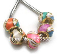 Wholesale metal big hole mix color oil drop on gold plated beads fit European DIY bracelet jewelry DIY