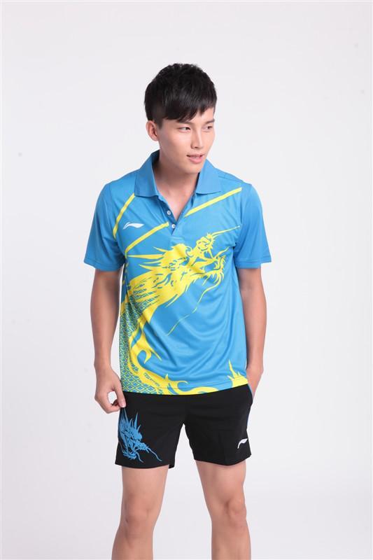 Groothandel 2011 Nieuwe Li-ning Mannen Red Tafel Tennis Team Olympic2008 Shirt Shorts Set Men T-shirt