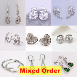Wholesale Fine Crystal Brass - Top Quality Mixed Styles 18K White Gold Platinum Plated Flat Multi Shapes Fine Earrings #ER137