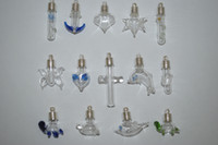 Wholesale Crystal Vials - 100 Wholesale Mix color shaped Glass bottles vials perfume pendants Silver plated Oil Charm Jewelry findings
