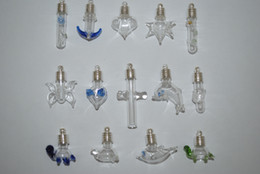 Wholesale Crystal Color Bottles - 100 Wholesale Mix color shaped Glass bottles vials perfume pendants Silver plated Oil Charm Jewelry findings