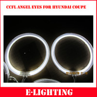 Wholesale Hyundai Led - Free Shipping 1 SET CCFL LED Angel Eyes Kit Warm White Halo Ring For HYUNDAI COUPE 03-06 Tiburon