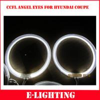 hyundai için kit toptan satış-Ücretsiz Kargo 1 TAKıM CCFL LED Melek Gözler Kiti HYUNDAI COUPE 03-06 Tiburon Için Sıcak Beyaz Halo Halka