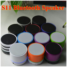 mini portable s11 bluetooth speaker Australia - S11 Mini Portable Metal Colorful Super Bass HiFi Beatbox Wireless Bluetooth Stereo Speaker With Light Mic TF Card Speakers