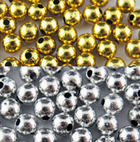 Wholesale 6mm Round Acrylic Beads - Hot ! 3mm 4mm 5mm 6mm Acrylic Round Silver Gold Plated Spacer Beads Jewellery Findings (b252)