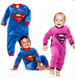 Barato Superman Rompers Baby Boy-Primavera Outono Baby Clothes 0-24M Toddler Romper Desenhos animados Superman Long Sleeve Baby Boy Rompers Uma peça Jumpsuits QZ438