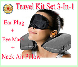 Wholesale Ear Pillows - Free shipping Travel Kit Set 3-In-1 Neck Air Pillow + Ear Plug + Eye Mask