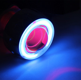 Wholesale Xenon Hid Lights For Motorcycles - 35w 12v h4 motorcycle hid bi-xenon projector lens light for motorcycle headlamp Blue angel Red Devil Eye CCFL