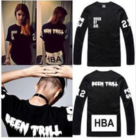 Wholesale x men long sleeve t shirt - Free shipping Chinese Size S---XXXL long sleeve shirt Hood By Air HBA X Been Trill Kanye West t shirt Hba tee shirt 4 color 100% cotton