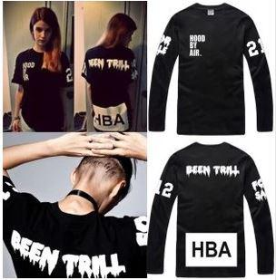 Free shipping Chinese Size S---XXXL long sleeve shirt Hood By Air HBA X Been Trill Kanye West t shirt Hba tee shirt 4 color 100% cotton