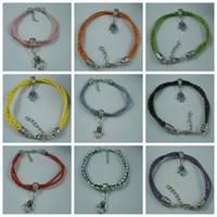 Wholesale Mix Color Braided Leather Bracelet - MIC -27 Pcs Mix Color Leatheroid Braided Fatima Hand Evil Eye Charms Bracelets (b253)
