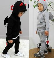 Wholesale Devil Children Set - 2016 Spring Children Suits Boys Little Devil Long Sleeve Hooded Coats And Pants Sets Kid Suits Free Shipping