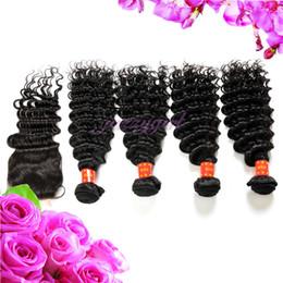 Wholesale Deep Wave Human Hair 5pcs - Unprocessed Virgin Brazilian Human Hair Weaves,Deep Wave 4 Bundles Hair Weft with 1 pc Lace Closure Free Part 5pcs Lot, 3.5*4 Bleached Knots