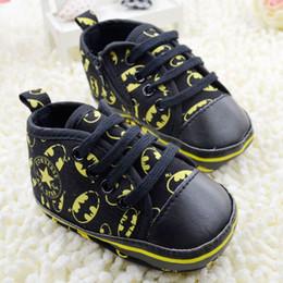 Wholesale Canvas Shoes Batman - Small Children's Shoes 0-18M Infant Baby First Walker Shoes Cartoon Batman Toddler Shoes Sneaker Size 11 12 13 6pair lot QZ443