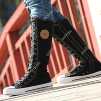 Wholesale Emo White Boots - S5Q Women Girl Punk EMO Rock Gothic zip Lace up Canvas boot shoe sneaker knee AAACSS