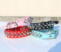 Wholesale Dog Collar Leather Riveted - New Arrival Spiked Studded Cool Rivets Soft PU Leather Dog Pet Puppy Collars D3
