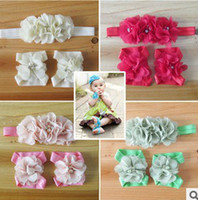 Wholesale Baby Matching Sandals - Barefoot Baby Sandals with Pearl Rhinestone Tulle chiffon Flowers Matching headbands kids hair accessory sets 14color STOCK 14set lot