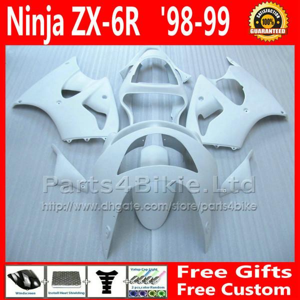 7 regalos carenados de motocicleta para 1998 1999 Kawasaki ninja ZX6R todo el kit de carenado de carrocería blanco brillante ZX636 98 99 ZX 6R ZX-6R 636 BY1