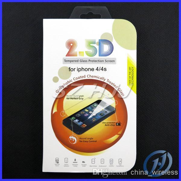 Premium 2.5D protezione dello schermo in vetro temperato iPhone 4 4S 5 5S antigraffio infrangibile 0,33 mm 0,4 mm bordo smussato presa perfetta
