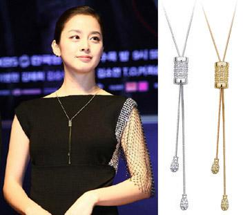 bow-knot adjustable sweater chain, long sweater necklace,18K gold plated crystal rose /silver color jewelry sets for new 2013 women