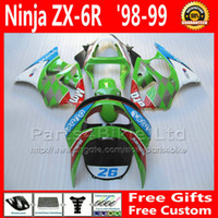 Wholesale kawasaki 636 fairings set - High quality full fairings set for ZX-6R 636 Kawasaki ninja 1998 1999 ZX6R ABS green red fairing body kits ZX636 98 99 ZX 6R +7 Gifts BY6