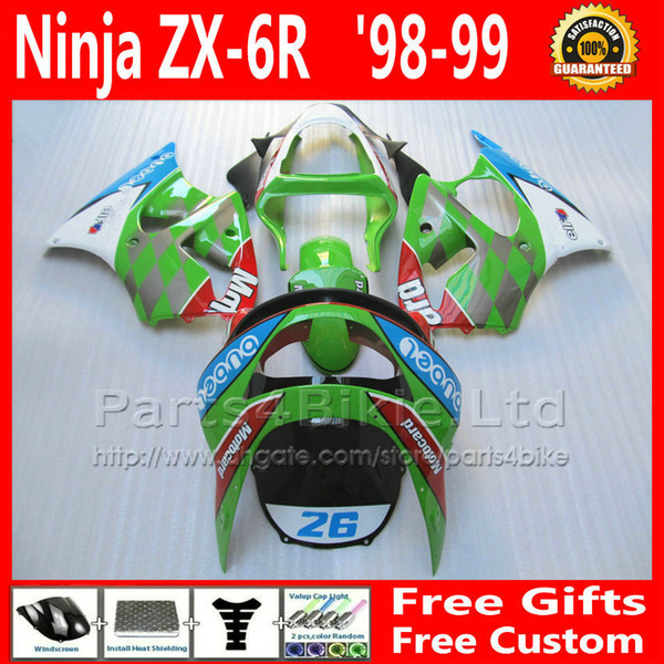 High quality full fairings set for ZX-6R 636 Kawasaki ninja 1998 1999 ZX6R ABS green red fairing body kits ZX636 98 99 ZX 6R +7 Gifts BY6