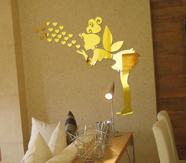 Entrega gratuita 3D espelho adesivos de parede anjo Amante coração adesivos de parede crianças quarto sala de estar decoração 1 set / lote