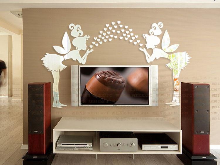 Entrega gratuita 3D espelho adesivos de parede anjo Amante coração adesivos de parede crianças quarto sala de estar decoração / lote