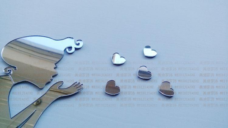 Entrega gratuita 3D espejo pegatinas de pared angel Lover corazón pegatinas de pared dormitorio de los niños decoración de la sala de estar /