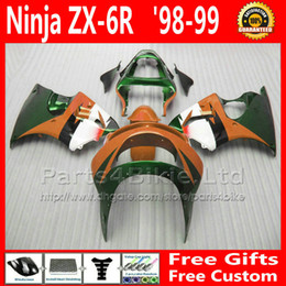 Wholesale Kawasaki 636 Fairings Set - Popular body work set for ZX-6R 636 Kawasaki ninja fairing brown green ZX6R 1998 1999 fairings kit ZX636 98 99 ZX 6R bodykit +7 Gifts BY30