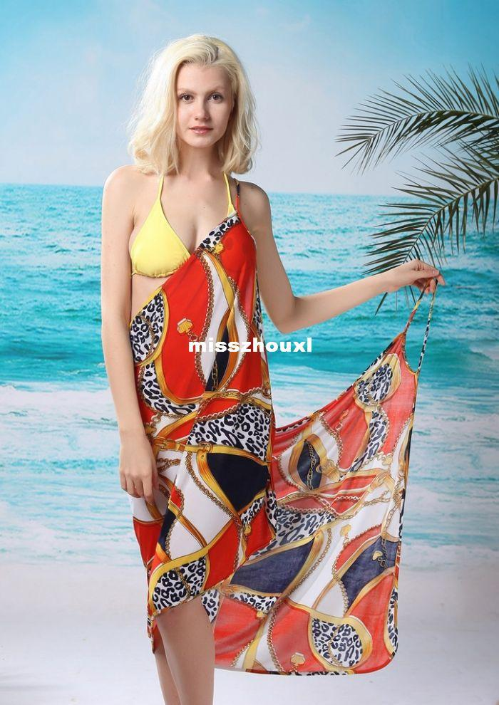 Best Buy Long Beach >> 2014 New Saress Bikini Wrap Dress Women's Sarong Swim Cover-ups Cross Beach Dress Stone Pattern ...