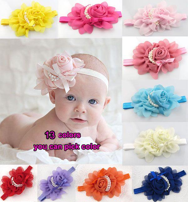 Baby Rose Pearl Headbands Children Hair Jewelry Headband Cute Baby