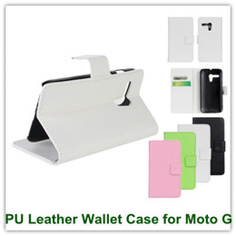 Wholesale Buy Leather Wallet - 1PCS White PU Leather Wallet Case with Slot Stand Credit Card Holer Covers for Motorola Moto G DVX Hot Sales