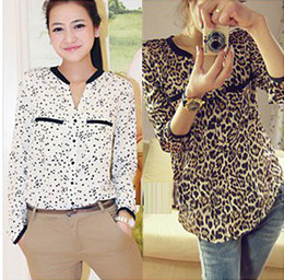 Wholesale Leopard Blouse Fashion - Q6077 2016 new women Stars Sexy Leopard shirt lady long sleeved chiffon tops blouse t shirt S M L