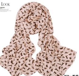 lange chiffon schals großhandel Rabatt Großhandel - New Fashion Long Polyester Kätzchen Schals Samt Chiffon Kleine Katze Muster Schal