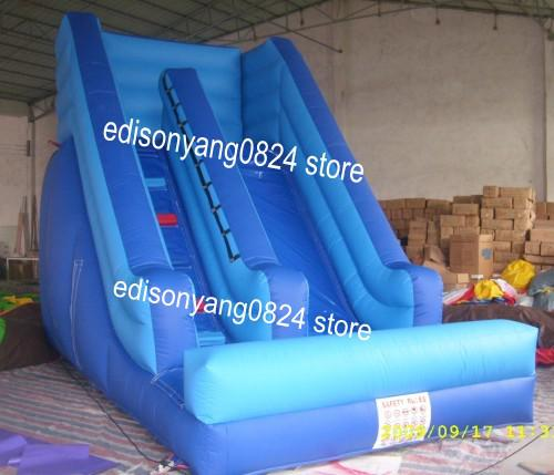 top popular Mini blue inflatable water slide inflatable slide for kids 2021