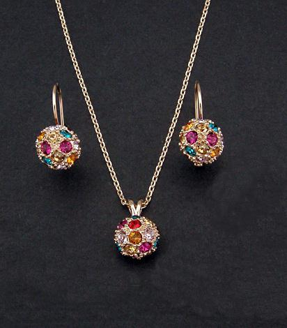 rose ball color crystal pendant necklace and stud earrings ,18K gold plated jewelry set for new 2013 women