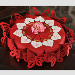Wrapping Paper Gift Sets Canada - Dia 22cm 2015 HOT Red Butterfly Candy Box Valentine's Gift Paper Box Party Favors Romantic Gift Wrap Package 10pcs set 5set lot CK057