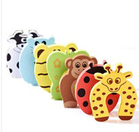 ingrosso la porta dei cartoni animati si ferma-Vendita al dettaglio- 1 Pz - Bambino Baby Animal Cartoon Jammers Stop Door Stopper Holder Lock Safety Guard / Child Safety Components